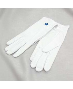 G102 White Cotton Glove With S&c Motif - Ladies Size